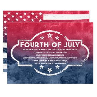 素朴な米国は7月の赤く青い水彩画の第4に印を付けます カード