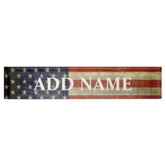 素朴な米国旗 デスクネームプレート