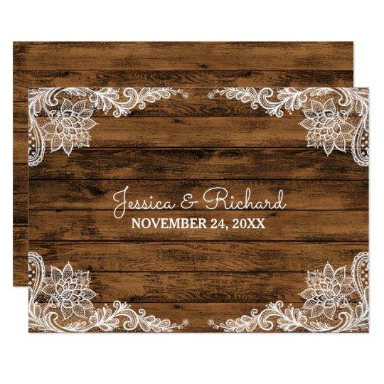 素朴な納屋の木およびレースの結婚式の引き出物 8.9 X 12.7 インビテーションカード