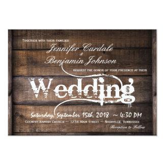 素朴な納屋の木製の国の結婚式招待状 カード