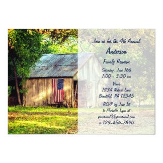 素朴な納屋の米国旗の家族会の招待 12.7 X 17.8 インビテーションカード