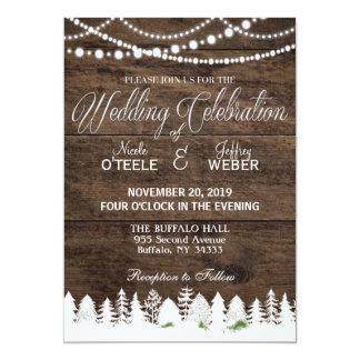 素朴な納屋の結婚式の木製の冬のクリスマス 12.7 X 17.8 インビテーションカード