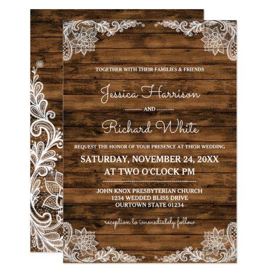素朴な納屋木およびレースの結婚式招待状 カード