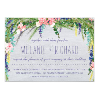 素朴な納屋木及び国の花の写真の結婚式 カード