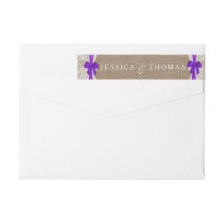 素朴な紫色の弓結婚式のコレクションのラベル ラップアラウンド返信用宛名ラベル