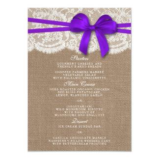 素朴な紫色の弓結婚式のコレクションメニューカード 11.4 X 15.9 インビテーションカード