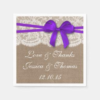 素朴な紫色の弓結婚式のコレクション スタンダードカクテルナプキン