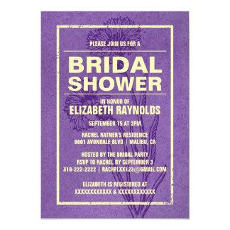 素朴な紫色及び金ゴールドのブライダルシャワー招待状 カード