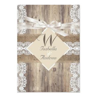 素朴な結婚式のベージュ白いレースの木製のバーラップ2a 12.7 x 17.8 インビテーションカード