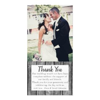素朴な結婚式の写真のサンキューカード カード