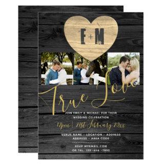 素朴な結婚式は写真のモノグラムの灰色の金ゴールドを誘います カード