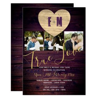 素朴な結婚式は写真のモノグラムの紫色の金ゴールドを誘います カード