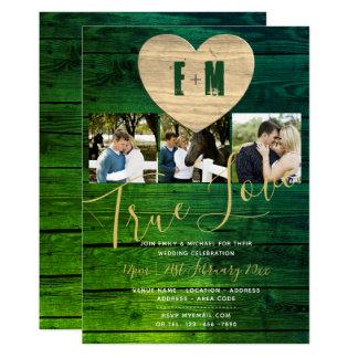 素朴な結婚式は写真のモノグラムの緑金ゴールドを誘います カード