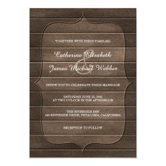 素朴な結婚式招待状、木製のパネルの背景 カード