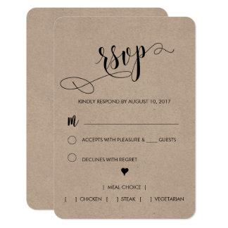 素朴な結婚RSVPカード カード