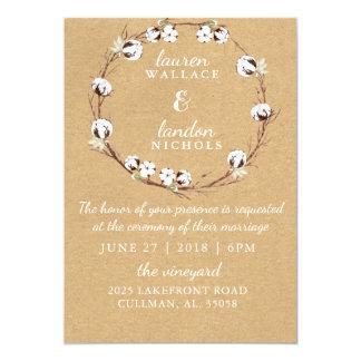 素朴な綿のリースの結婚式招待状 12.7 X 17.8 インビテーションカード