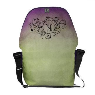 素朴な緑および紫色のボヘミアの華麗さ メッセンジャーバッグ