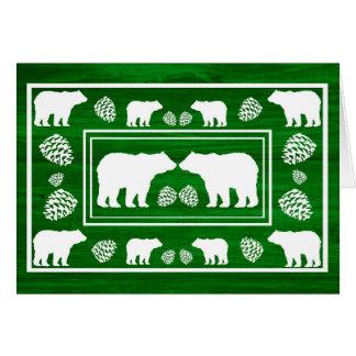 素朴な緑くまのpineconeの木製のカスタムなメッセージカード カード