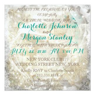 素朴な緑のセピア色の名前入りな結婚式招待状 カード