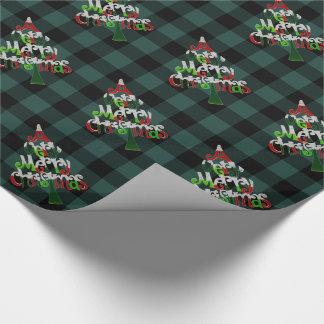 素朴な緑のバッファローの格子縞のメリークリスマスの木 ラッピングペーパー