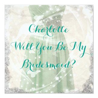 素朴な緑私の新婦付添人の招待状です カード