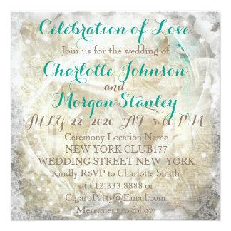 素朴な緑金ゴールドの名前入りな結婚式招待状 カード