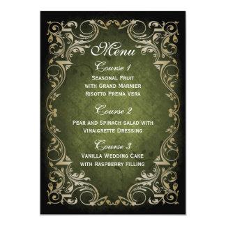 素朴な緑金ゴールドの豪奢な結婚式メニュー 12.7 X 17.8 インビテーションカード