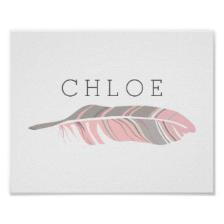 素朴な羽|のピンクの名前入りな一流の壁の芸術 ポスター