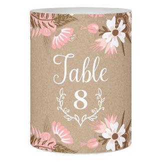 素朴な花のクラフト紙の結婚式のテーブル数 LEDキャンドル