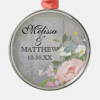 素朴な花のシャクヤクのデイジー木名前を結婚するBoho メタルオーナメント