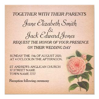 素朴な花のピンクのかわいらしいツバキの結婚式の招待 カード