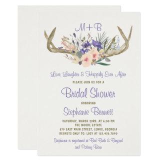 素朴な花のブライダルシャワーの招待状 カード