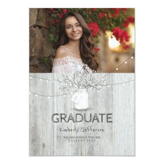 素朴な花のメーソンジャーの写真の卒業パーティー 12.7 X 17.8 インビテーションカード