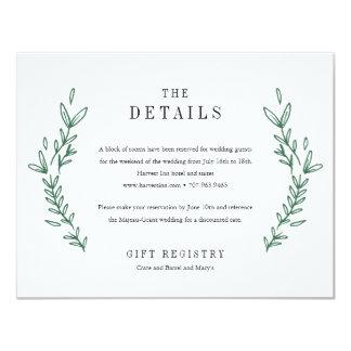 素朴な花のモノグラムの結婚式の明細カード カード