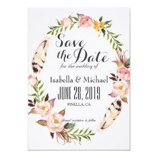 素朴な花のリースの保存日付 カード