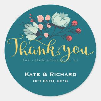 素朴な花の原稿は結婚式のステッカー感謝していしています ラウンドシール