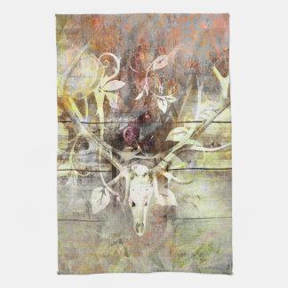 素朴な花の木製の穀物の雄鹿のスカルの(雄ジカの)枝角 キッチンタオル