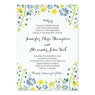 素朴な花の結婚式招待状海軍黄色 カード