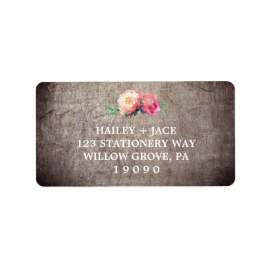素朴な花の花束の結婚式 宛名ラベル