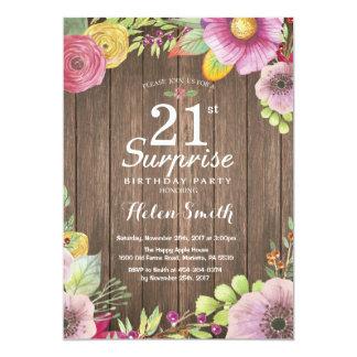 素朴な花の驚きの第21誕生日の招待状 カード