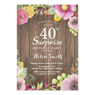 素朴な花の驚きの第40誕生日の招待状 カード