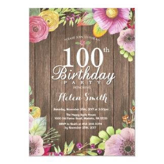 素朴な花の驚きの100th誕生日の招待状 カード