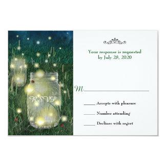 素朴な草原の夏の夜のメーソンジャーのホタルRSVP 8.9 X 12.7 インビテーションカード