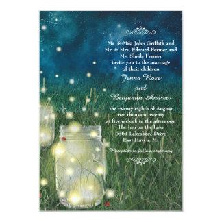 素朴な草原夜メーソンジャーのホタルの結婚式 12.7 X 17.8 インビテーションカード