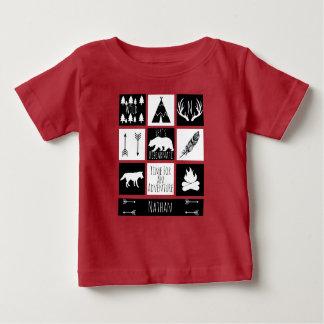 素朴な荒野のバッファローの点検の格子縞及びベビーの名前 ベビーTシャツ