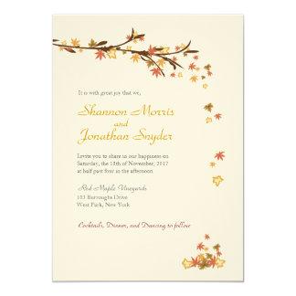 素朴な葉の結婚式招待状 カード