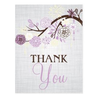 素朴な薄紫およびクリーム色の花は郵便はがき感謝していしています 葉書き