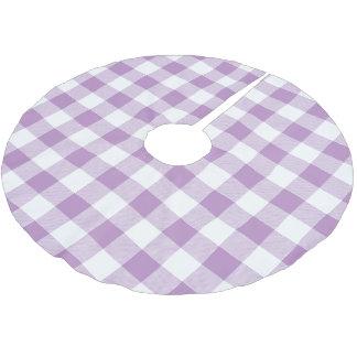 素朴な薄紫および白いバッファローの点検の格子縞 ブラッシュドポリエステルツリースカート