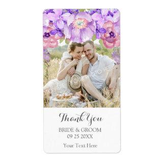 素朴な薄紫の紫色の花の写真の結婚式のラベル ラベル