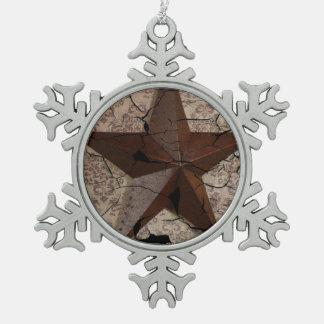 素朴な西欧諸国の初期のなテキサス州星 スノーフレークピューターオーナメント
